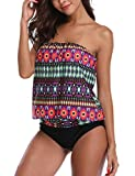 Chenghe Women Blouson Tankini Top High Waist Moderate Bottom Two Piece Swimsuit (Purple, US 14-16 / XL)