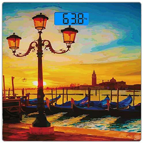 Digitale Präzisionswaage für das Körpergewicht Platz Venedig Ultra dünne ausgeglichenes Glas-Badezimmerwaage-genaue Gewichts-Maße,Antike Laterne und Gondeln, die in Grand Canal Artistic Sunrise, orang