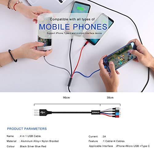 SDBAUX Multi 4 in 1 Ladekabel 1.2m,USB Schnelllade Kabel mit 2 iP/Typ C/Micro USB Port Kompatibel für Phone 12 11 Pro Max Xs X 8 7 6s Plus, Samsung Galaxy S20 S10 Google Pixel LG Huawei(Nur Aufladen)