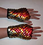 Gauntlets or Fingerless Gloves in knitted Dragonhide Scalemail Armor- Night Phoenix