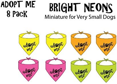 Amazon.com : 8 Pack Of Adopt ME Bandanas - NEON (Miniature Size For Small Dogs) : Pet Supplies
