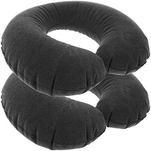 com-four® 2X Aufblasbares Nackenstützkissen - Komfortables Nackenhörnchen für Auto-, Zug- und Flugreisen - Reise Kissen im Taschenformat (2 Stück - schwarz)