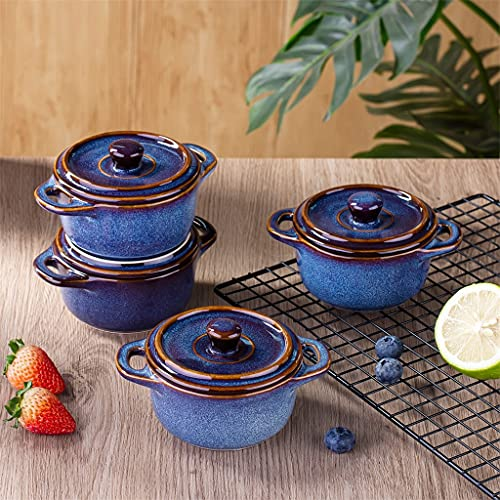 SHYPT Horno de porcelana de cerámica de 4 piezas Ramekins con tapa, orquídea plato de souffle con vidrio 7 onzas Mini plato de cazuela redonda