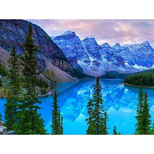 Snow Mountain Lake pintura sin marco por números lienzo para colorear paisaje pintado a mano Diy regalo decoración de la pared del hogar A6 45x60cm