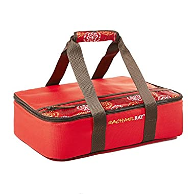 Rachael Ray Lasagna Lugger, Insulated Casserole Carrier for Potluck Parties, Picnics, Tailgates - Fits 9 x13  Baking Dish, Red Floral Medallion