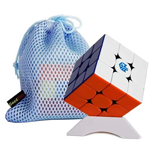 Gobus Ganspuzzle Gan356R GAN356 R Cubo magico 3x3 GAN 356 R Speed Cube Puzzle Juguete Stickerless con un Soporte de Cubo y una Bolsa de Cubo