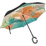 逆さ傘 逆折り式傘 逆転傘 長傘 日傘 オレンジ色 猫 UVカット 晴雨兼用 手離れC型手元 耐風 撥水加工 自立式 ビジネス用車用