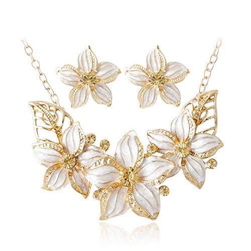 Yazilind Frauen Metall Legierung Anhänger Elegante Frühlingsblume Halskette Ohrringe Set Braut Schmuck Geschenk Weiß