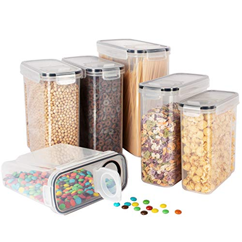Kitsure Cereal Container with Easy Pouring Lids Pantry Organization and Storage Airtight Food Storage Containers for Pantry and Kitchen 6Pack Cereal Containers Storage Set for Multiple Demands