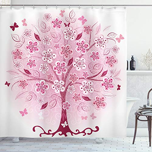 Ambesonne Nature Shower Curtain, Bonsai Tree Flowers Leaves and Butterflies Fantasy Nature Inspired Illustration, Cloth Fabric Bathroom Decor Set with Hooks, 70' Long, Burgundy Pink