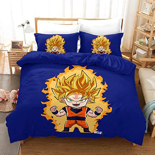 Dragon Ball - Juego de cama de dibujos animados SonGoku Vegeta (funda nórdica y funda de almohada, microfibra, diseño de anime, impresión digital 3D, funda nórdica + fundas de almohada) (04,Single 135 x 200 cm)
