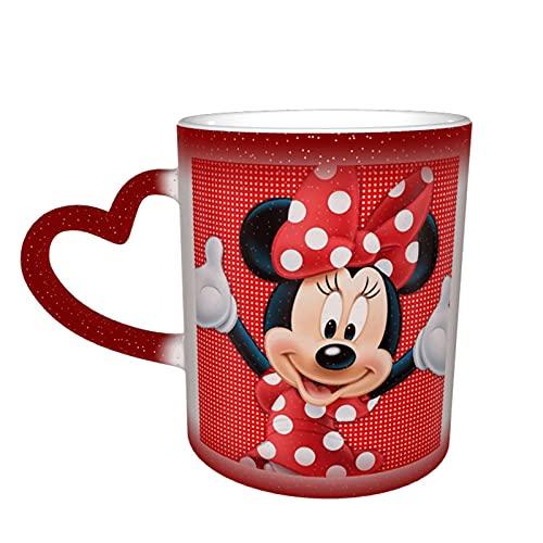 Taza de café de Mickey Minnie Mouse con diseño de dibujos animados de cerámica para té, cambiante de color, novedad para los amantes de la familia, amigos, oficina y hogar regalo
