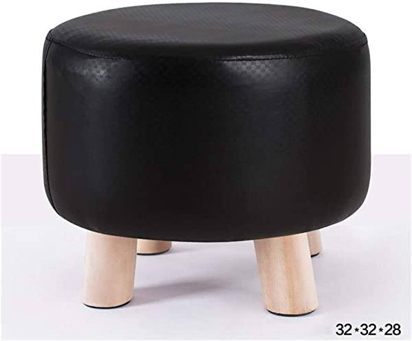 Carl Artbay Wooden Footstool Black Fashion Stool Solid Wood Bench Cloth Removable Washable Shoe Stool Home