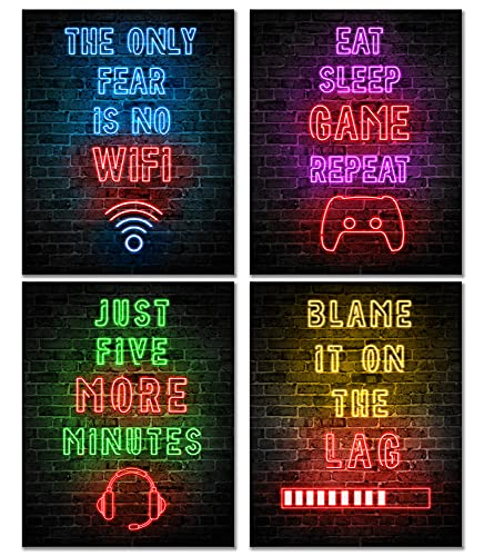 Waschbär Neon Gaming Posters for Boys Room Decor - Gaming Room Decor - Boys Bedroom Decor - Gamer Decor - Inspirational Posters for Video Game Room - Game Room Decor - Gaming Decor for Teen (UNFRAMED)