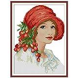 S-TROUBLE Stitch Bordado Kit Set Lady Impreso Contado 14CT Punto de Cruz DIY Hecho a Mano Costura Reloj de Pared Sala de Estar Decoración del hogar