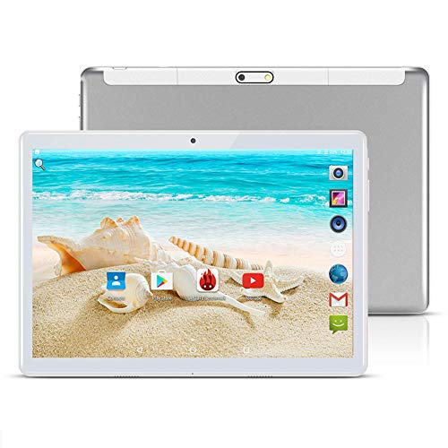 tablet google 10 inch Google Android 8.1 Tablet Unlocked Pad with Dual SIM Card Slot 2.5D Curved Glass Touch Screen 4GB RAM 64GB ROM 3G Phablet Built-in Bluetooth WiFi GPS Tablets (Metallic Silver)
