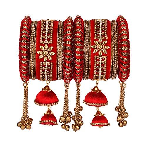 Efulgenz Juego de 10 pulseras indias con cristales CZ para boda, hilo de seda, para mujeres y niñas