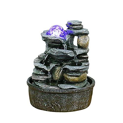 Fuente de interior Fuente de agua de la mesa de agua, rocas apiladas de la cascada interior, característica de agua relajante, sonido, decoración para el hogar para dormitorio o área de comedor Fuente