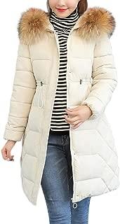 Creazrise Women's Winter Puffer Mid Length Cargo Pocket Coat Fur Trim Removable Hood (Black,3XL)