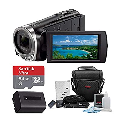 Sony HDR-CX455 Handycam Full HD 1080p Camcorder w/Lithium Ion Battery & 64 GB Micro SD Card Bundle by Sony