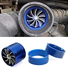 Universal Fit Brand New Blue Single Turbo Turbine Charger Cool Air Intake Fuel Gas Saver Fan Aluminum