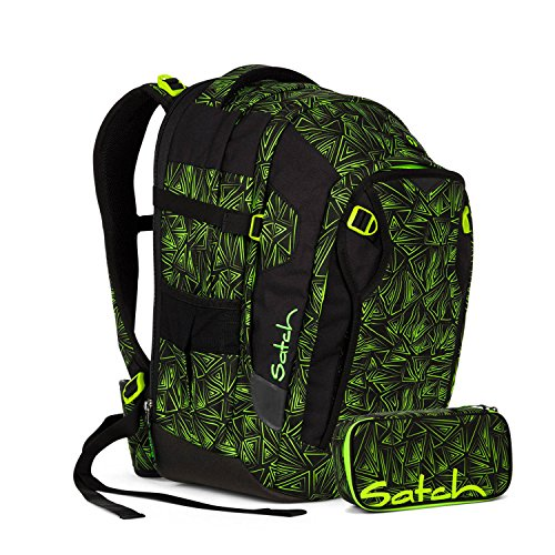 Satch Match - 2tlg Schulrucksack Set - Schulrucksack + Schlamperbox (Green Bermuda)