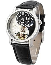 Time100 太陽と月と星 天体 太極形 スケルトン 昼夜表示 中空フライホイール 機械式 腕時計 #W60012M
