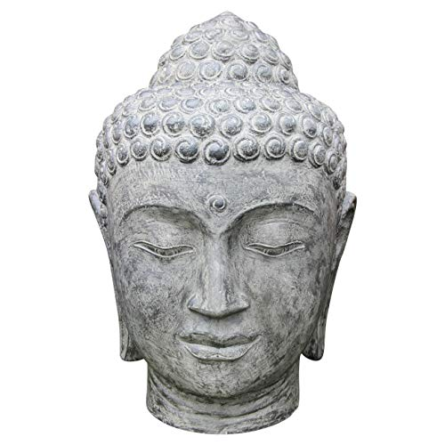 Ciffre Buddha Stein Kopf ca. 50cm Steinfigur Skulptur Feng Shui Garten Deko Wetterfest Lawa Stein aus Bali