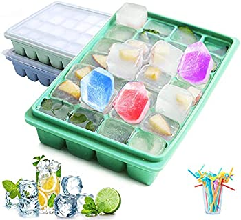 2-Piece Raniaco Stackable Silicone Ice Cube Trays with Lid Covers