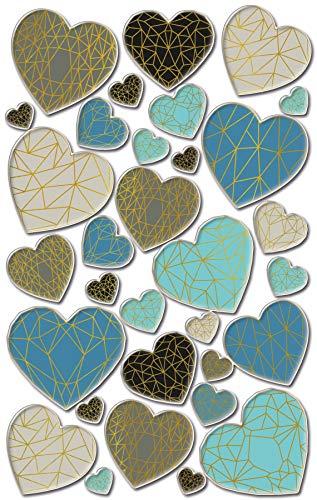 AVERY Zweckform Puffy Sticker Herzen 32 Aufkleber (selbstklebende Kindersticker zum Spielen, Basteln und Sammeln, für Stickeralben, Bulletjournal und Scrapbooking) 57309