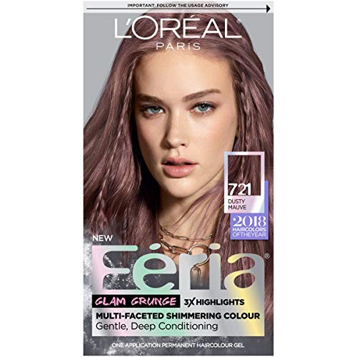 L'Oreal Paris Feria Multi-Faceted Shimmering Permanent Hair Color, 721 Dusty Mauve, Pack of 1