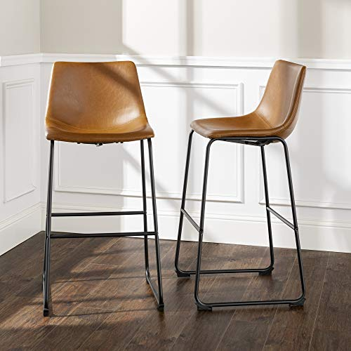 Walker Edison Douglas Urban Industrial Faux Leather Armless Bar Chairs, Set of 2, Whiskey Brown