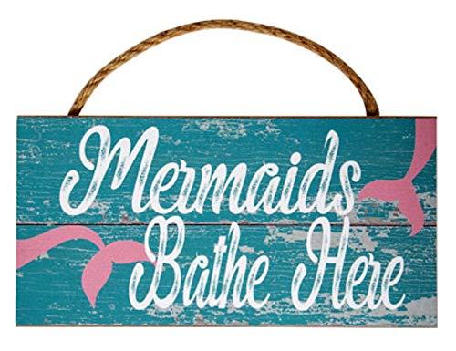 "COCO 10"" Rustic Mermaids Bathe Here Wood Wall Sign Bathroom Decor, Coastal Nautical Beach Decorations"