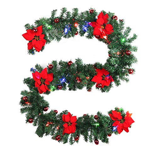Yolispa Christmas Garland Decorations 9 Foot Garland Greenery with Flowers, Berries Ball Ornament, Warm White Battery Operated 30 LED Lights, Indoor/Outdoor