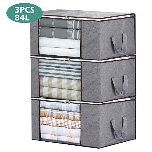 LATTCURE 3 Stück Aufbewahrungstasche Faltbare Aufbewahrungsboxen, große langlebige für Bettwäsche, Kleidung, Decken, Kissen Quilt Saison Artikel Lagerung
