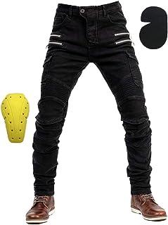 Czarne spodnie motocyklowe z ochraniaczami, na lato i zimę, dostępne w małych i dużych rozmiarach