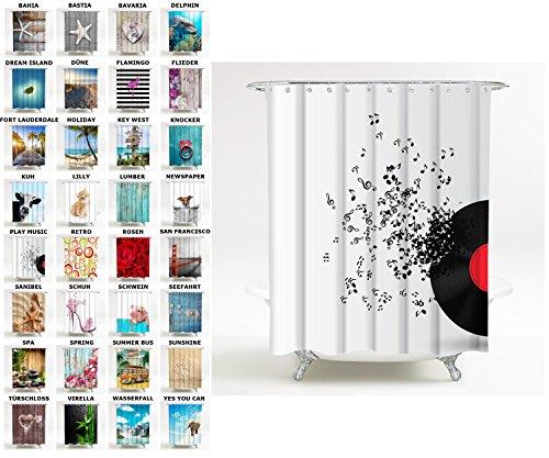 Sanilo Duschvorhang, viele schöne Duschvorhänge zur Auswahl, hochwertige Qualität, inkl. 12 Ringe, wasserdicht, Anti-Schimmel-Effekt (180 x 180 cm, Play Music)