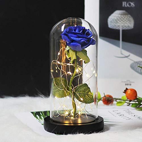 YF-1 - Petaca con diseño de Rosa y la Bestia, bañada en Oro, con luz LED en cúpula de Cristal para Bodas, Color Azul