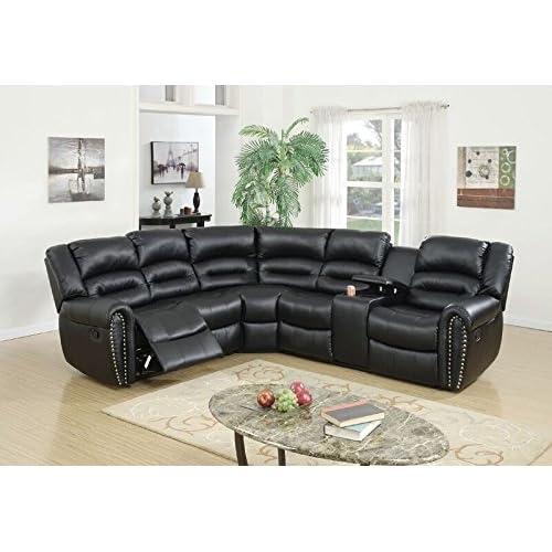 Fantastic Amazon Com Poundex Tamanna Black Bonded Leather Reclining Uwap Interior Chair Design Uwaporg
