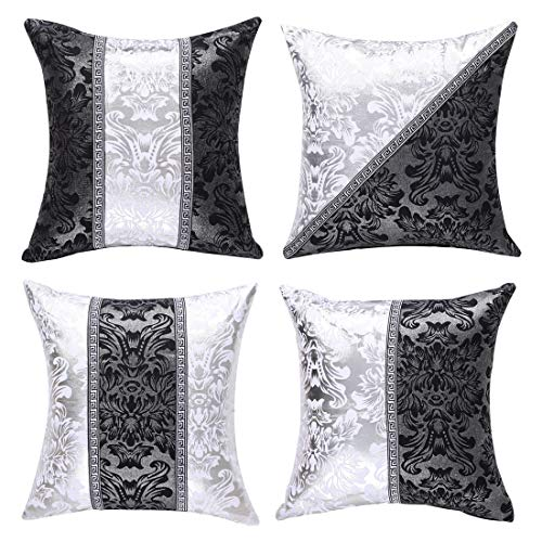 sourcing map Pack of 4 Cushion Covers Bolster Pillow Cases Shells for Couch Sofa Home Decoration Vintage Floral Printed Black Silver Contrast Square Throw Pillow Cover Sets 18' x 18'