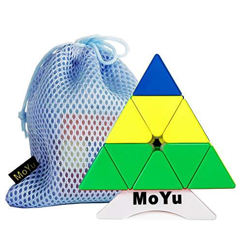 Moyu OJIN MoFang JiaoShi Meilong Pyraminx M 3x3x3 Multi Color Pyraminx Cube Pyramid Triangle Cubo de tetraedro de Cuatro Ejes con un trípode de Cubo y una Bolsa de Cubo