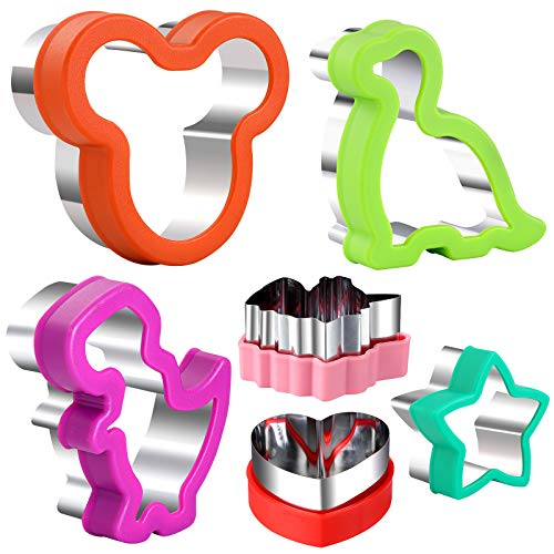 GELIFATLE Cookie Cutters Set Mickey Mouse Dinosaur Unicorn Heart Star Shaped Biscuit Cake Fondant Pancake Cutter Mold for Kids Holiday Celebration Birthday Party 6pack