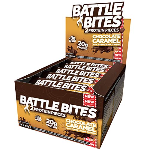 Battle Bites High Protein and Low Carb/Sugar Bars 12 x 62 g - Chocolate Caramel With Fudge Crumb Topping