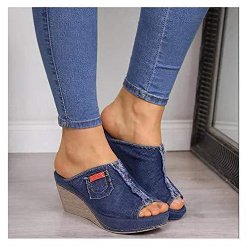 XXXZZL Mujer Sandalias de Cuña Elegante Zapatos Verano Plataforma Boca de Pescado Sandalias Mezclilla Color Sólido Zapatos De Tacón Alto Alpargatas De Playa Fiesta,Azul,34EU