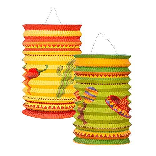 Boland 54403 - Papierlaternen Fiesta, 2 Stück, Größe 16 cm, 2 Motive sortiert, Mehrfarbig, Mexiko, Kaktus, Sombrero, Lampion, Hängedekoration, Geburtstag, Gartenparty, Strandparty, Mottoparty