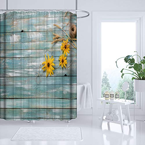 """Rustic Country Sunflower Shower Curtain Old Western Barn Wood Vintage Farmhouse Set Fabric Polyester Hook Accessories Turquoise Brown Farm Theme Style Fence Yellow Home Decor, 72""""x72"""""""