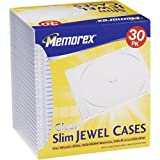 Memorex Clear Jewel Case, Slim, 30 Pack (32020030188)