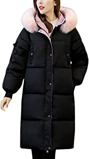 SGMOER Women's Down Coat,Zip Up Snap Button Knee Length Fuzzy Collar Plus Size Warm Solid Parka Jacket