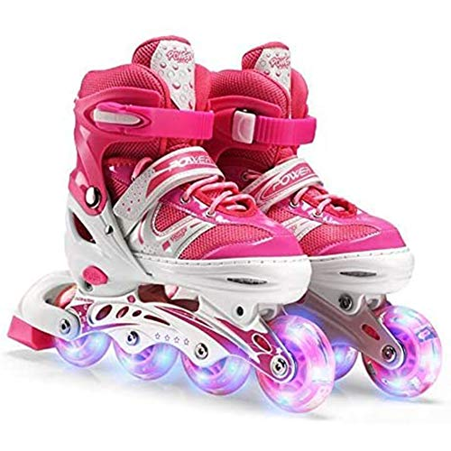 Inline Skates Adjustable Fitness Inline Skate Performance Inline Skates Light Up Wheels Roller Blades Girls and Boys,M(35_38)