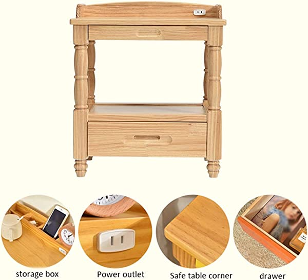 HappyL Bedside Table 2 Layer Drawer Bedside Table Multi Function Storage Cabinet For Bedroom Living Room Bedroom Bedside Table Color White